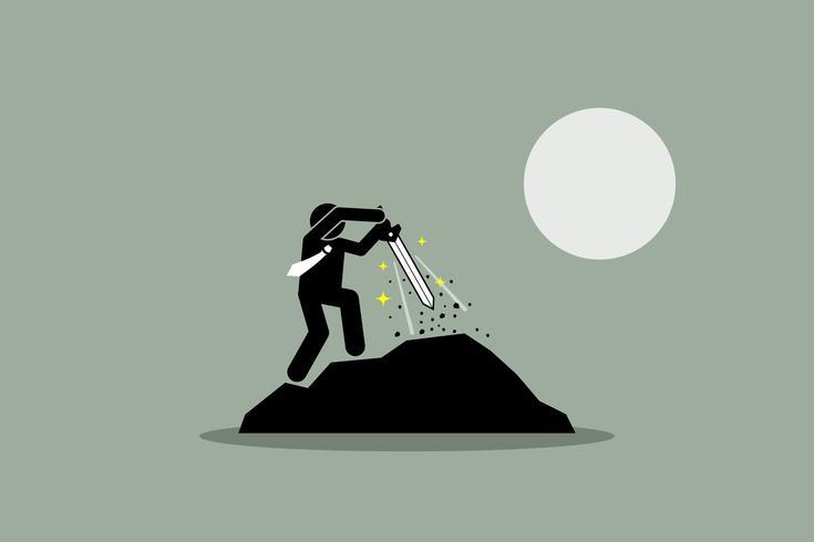 Uomo d'affari che tira la spada di Excalibur fuori da una roccia. vettore