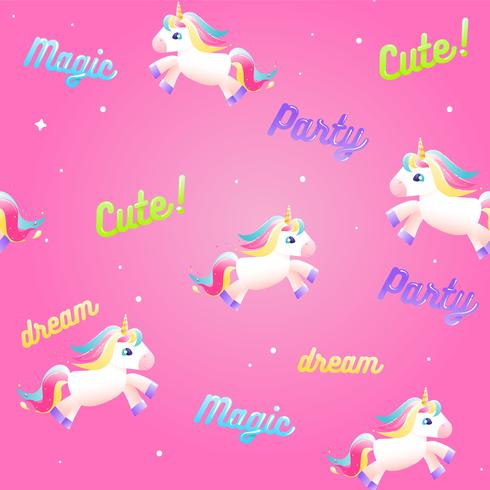 Insieme carino unicorno. Arcobaleno colorato, gelato, liquido magico in una bottiglia con stella. illustrazione del fumetto vettore
