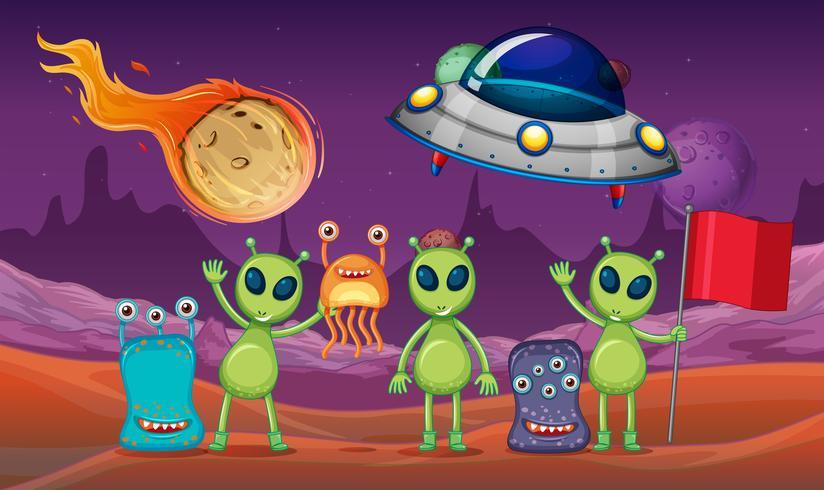 Tema spaziale con alieni e UFO sul pianeta vettore