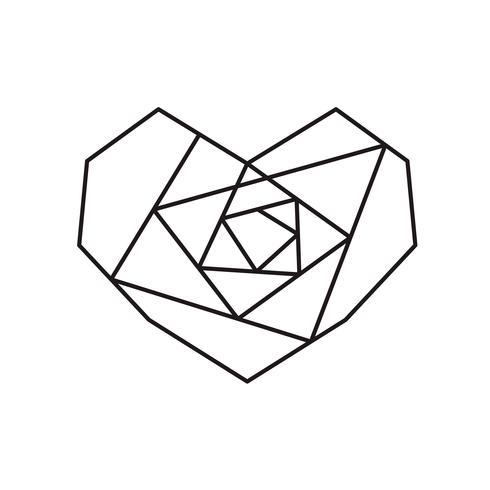 Struttura di forma di cuore rosa simbolo geometrico vettoriale con posto per testo. Icona di amore per biglietto di auguri o matrimonio, San Valentino, tatuaggio, stampa. Vector l'illustrazione di calligrafia isolata su una priorità bassa bianca