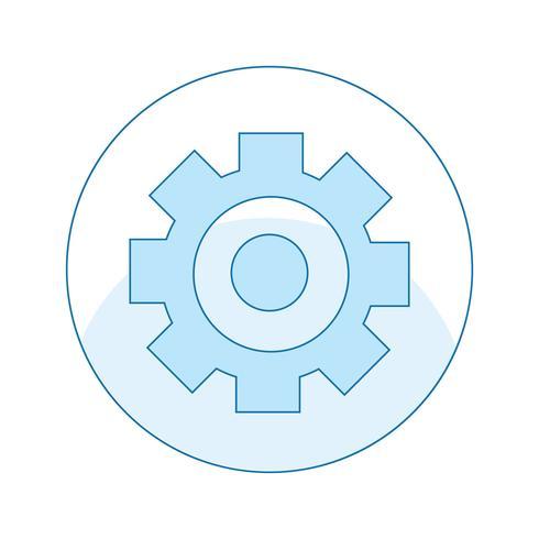 Icona con ingranaggi, meccanica, riparazione di rotture. Strumento in un cerchio. Illustrazione di linea piatta vettoriale