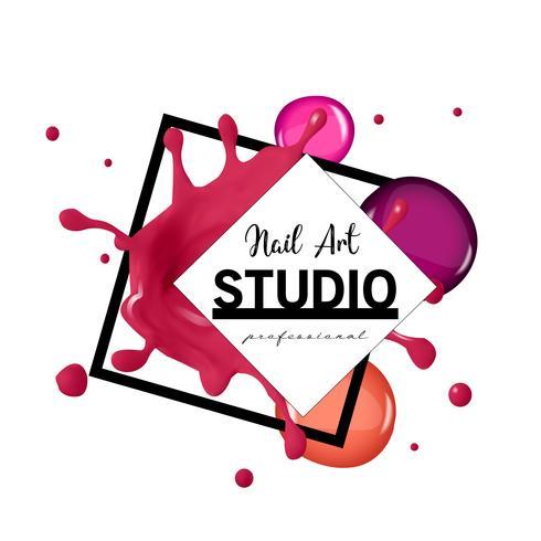 Modello di progettazione di logo di studio di arte del chiodo. vettore