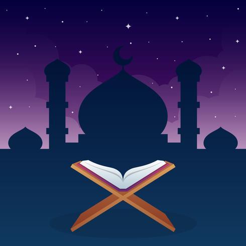 Libro di religione di islam di Corano con il fondo di Sillhouette della moschea vettore