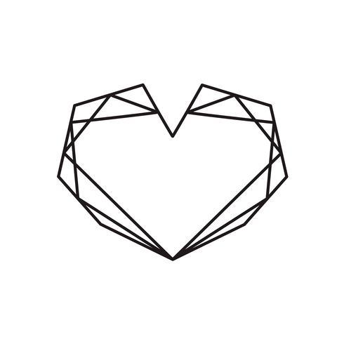 Telaio di forma cuore nero vettoriale geometrico con posto per testo. Icona di amore per biglietto di auguri o matrimonio, San Valentino, tatuaggio, stampa. Vector l'illustrazione di calligrafia isolata su una priorità bassa bianca