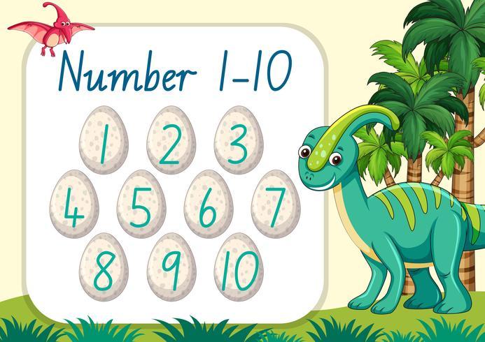 Conteggio numero dinosauro tema vettore