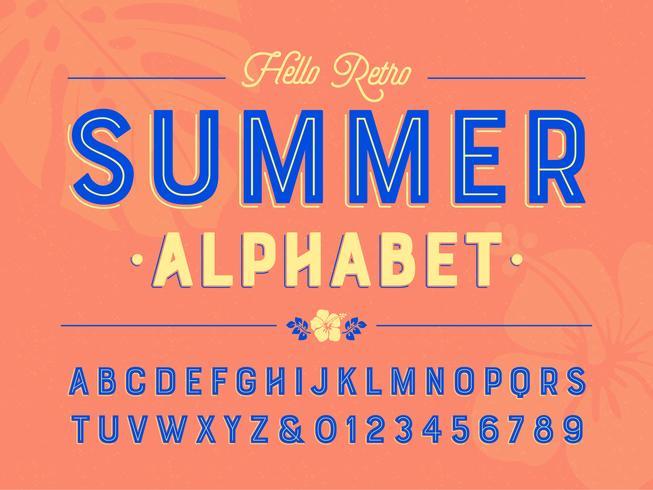 Summer Alline Retro Alphabet vettore