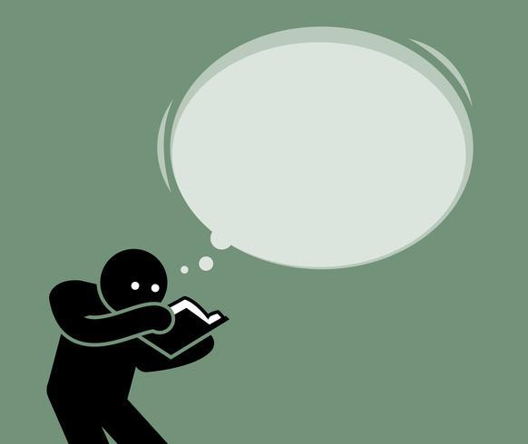 Uomo che legge un libro e cerca di elaborare il contenuto del libro con la sua mente. vettore