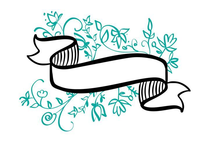 Struttura d'annata con il nastro e posto per il testo con i fiori e le foglie tropicali su fondo bianco, insegna disegnata a mano dell'illustrazione di vettore