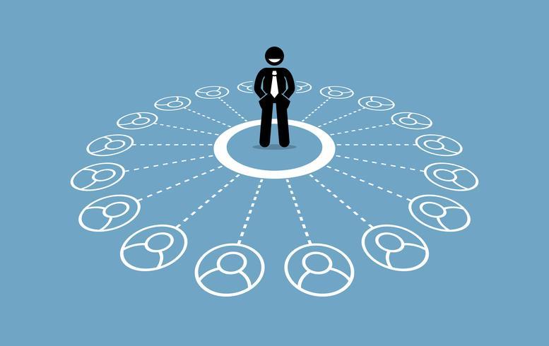 Uomo d'affari con molti contatti e una solida rete aziendale. vettore
