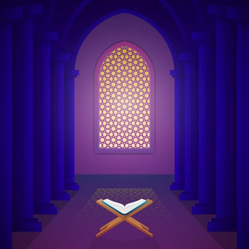 Il libro sacro del Corano sul basamento e sull'illustrazione interna di vettore della moschea