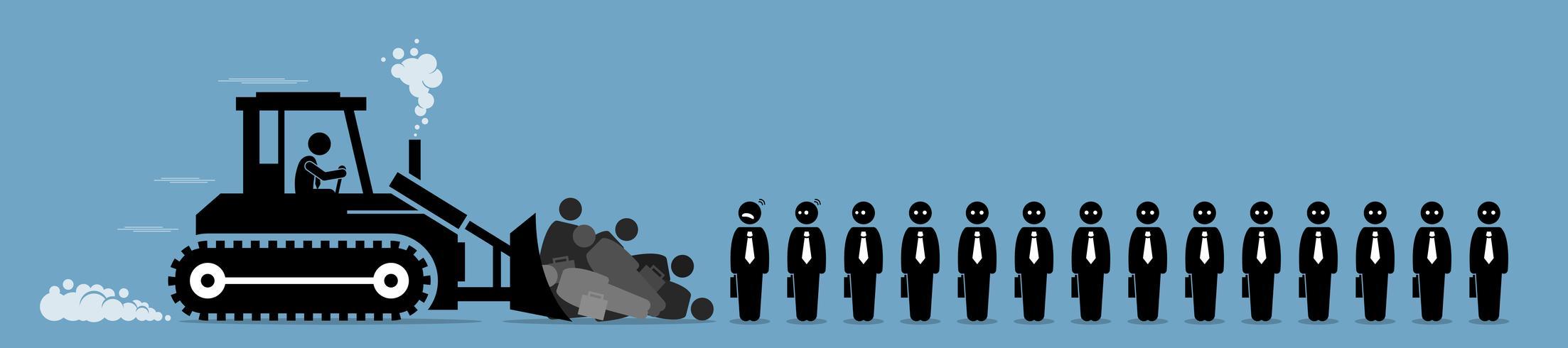 Riduzione del personale, licenziamenti dei dipendenti dell'azienda e riduzione dei posti di lavoro. vettore