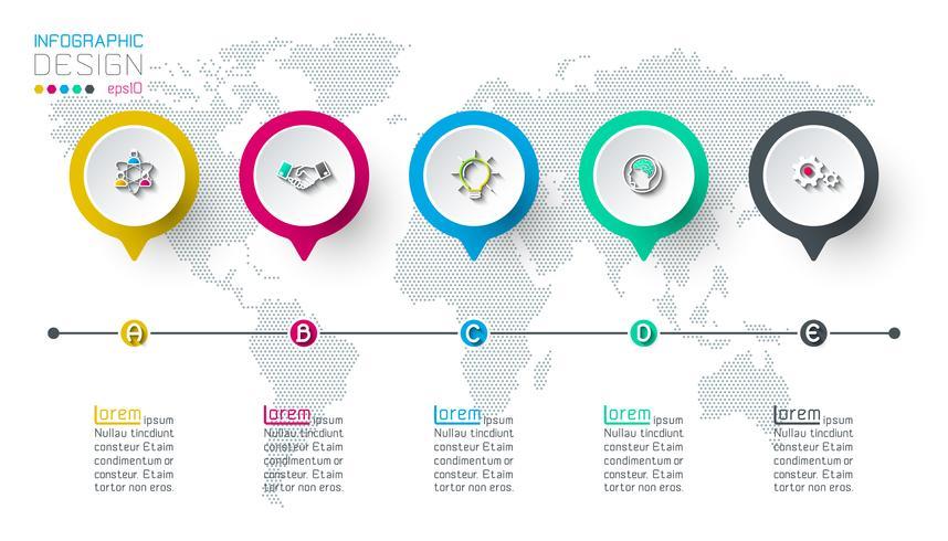Etichetta cerchio infografica con 5 passaggi. vettore