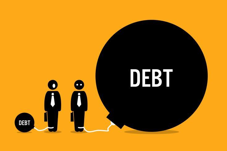 Uomo sorpreso da altre persone enorme debito. vettore