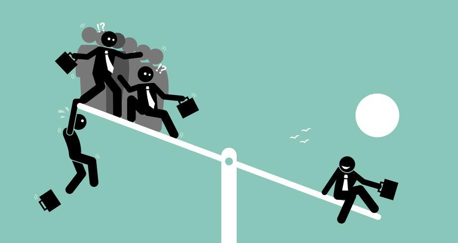 Una singola persona è più pesante di un gruppo di persone su una scala ad altalena e supera loro. vettore