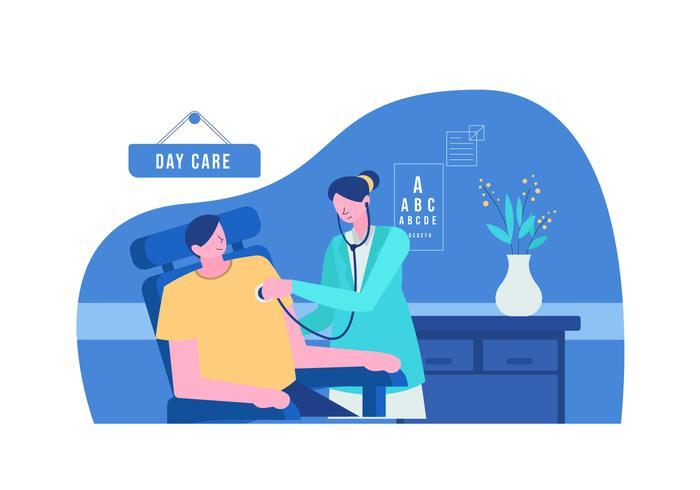 Il dottore Checking For Healthcare nell'illustrazione piana di vettore della clinica