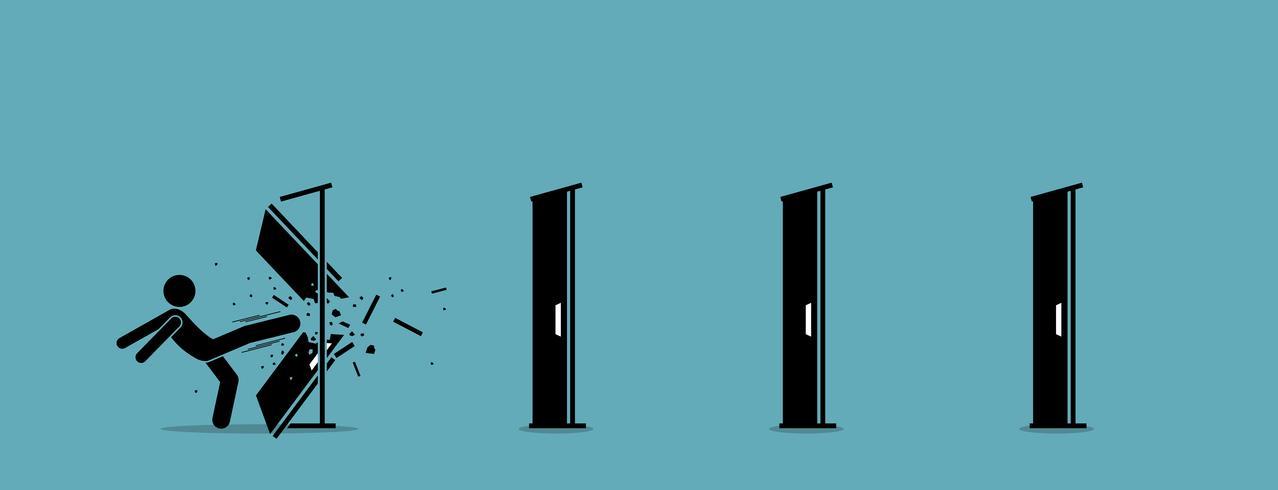 Uomo che abbatte e distrugge la porta uno per uno. vettore