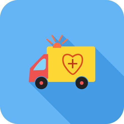 Icona dell'ombra lunga piatta dell'ambulanza vettore