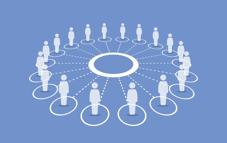 Persone in piedi attorno a un cerchio che si connettono tra loro. vettore