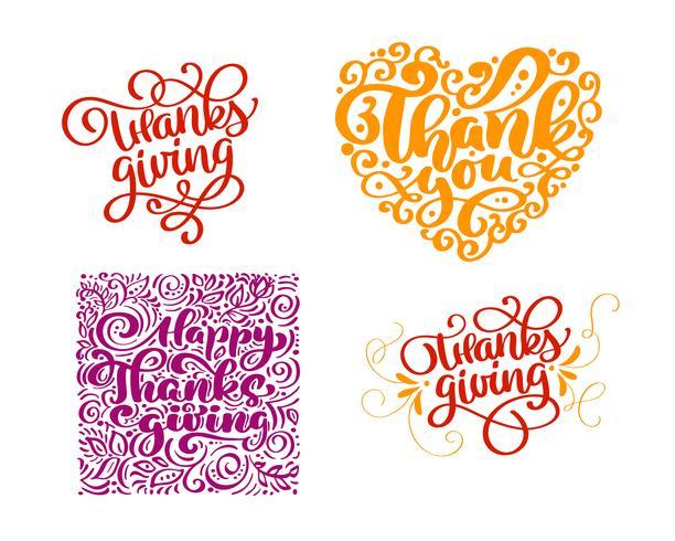 Set di testo di calligrafia Grazie per Happy Thanksgiving Day. Holiday Family Positive cita lettering. Elemento di tipografia di progettazione grafica di cartolina o poster. Vettore scritto a mano
