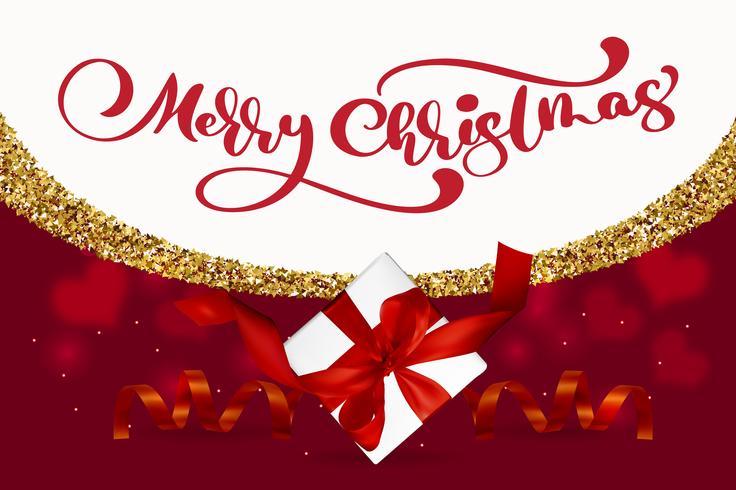 Buon Natale lettering, sfondo rosso illustrazione vettoriale, con una scatola regalo Mesh e fiocchi di neve dorati. Biglietto di auguri di Natale vettore