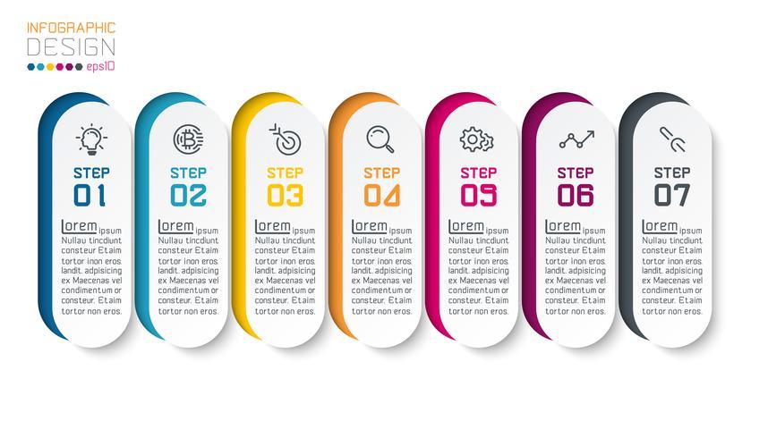Sette barre infografiche verticali. vettore