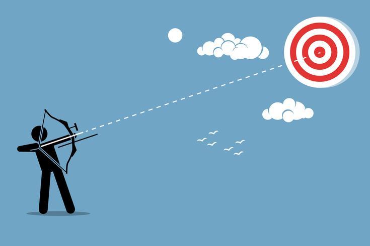 Persona che usa un arco per mirare e sparare una freccia a un bersaglio nel cielo. vettore