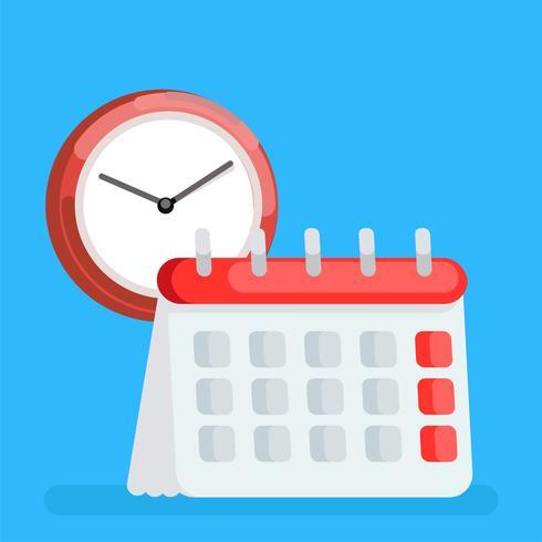 Icona del calendario. Gestione dell'ora. Illustrazione piatta vettoriale