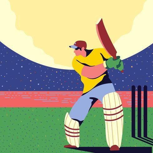 giocatore di cricket battitore in azione vettore