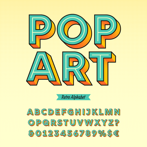 Retro vettore di alfabeto di Pop art