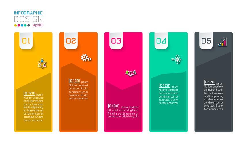 Bar etichette infografica con 5 passaggi. vettore