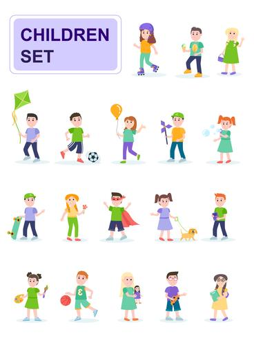 Set di bambini in diverse pose e diverse attività vettore