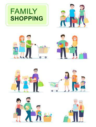Insieme di persone che trasportano borse della spesa con gli acquisti vettore