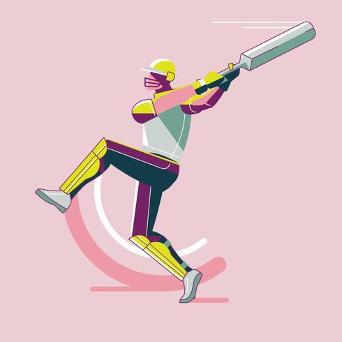 Giocatore di cricket swing vettore