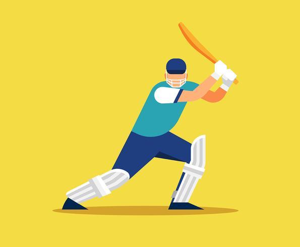 Illustrazione del giocatore di cricket vettore