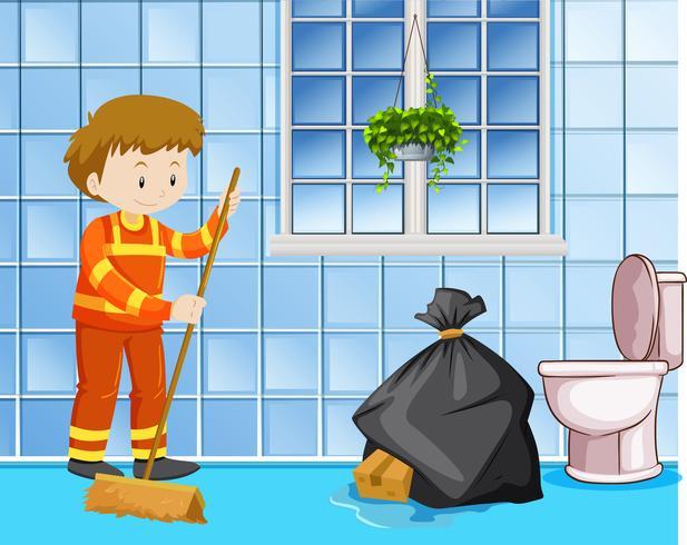 Bidello che pulisce il pavimento bagnato nella toilette vettore