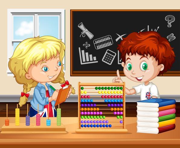Bambini che lavorano in classe vettore
