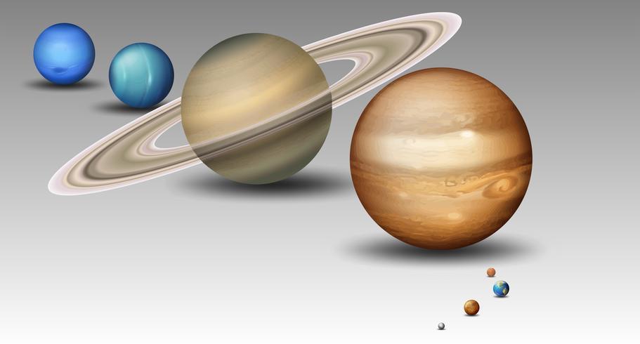 Set di pianeta del sistema solare vettore