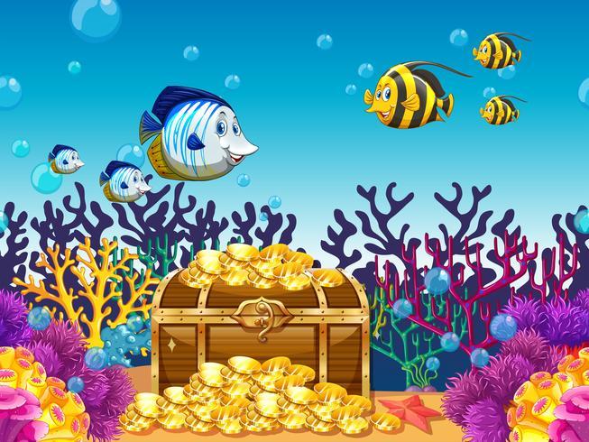 Scena con tesori e pesci sott'acqua vettore