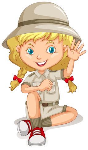 Bambina in uniforme da scout vettore