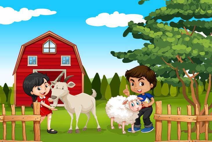 Ragazzo e ragazza con animali da fattoria nella fattoria vettore