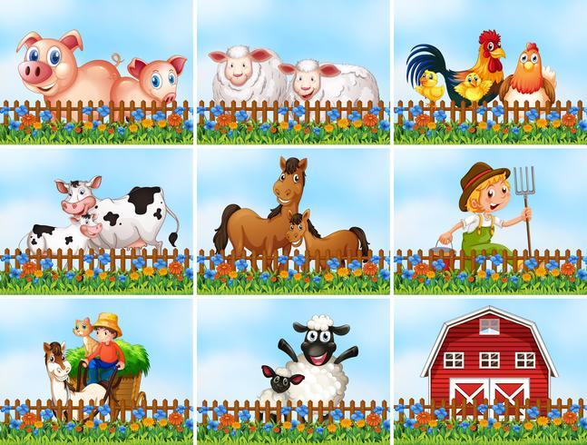 Set di scena agricola vettore