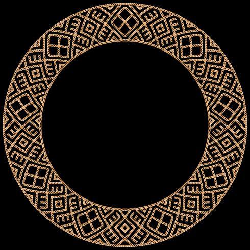 Cornice rotonda realizzata con catene dorate. Sul nero Illustrazione vettoriale