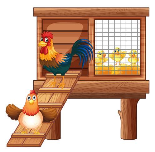Pollo e pulcini in gabbia vettore