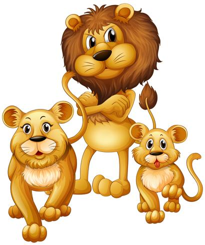 Famiglia di leoni con un cucciolo vettore