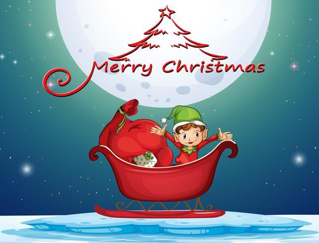 Elfo e regali nel carrello vettore