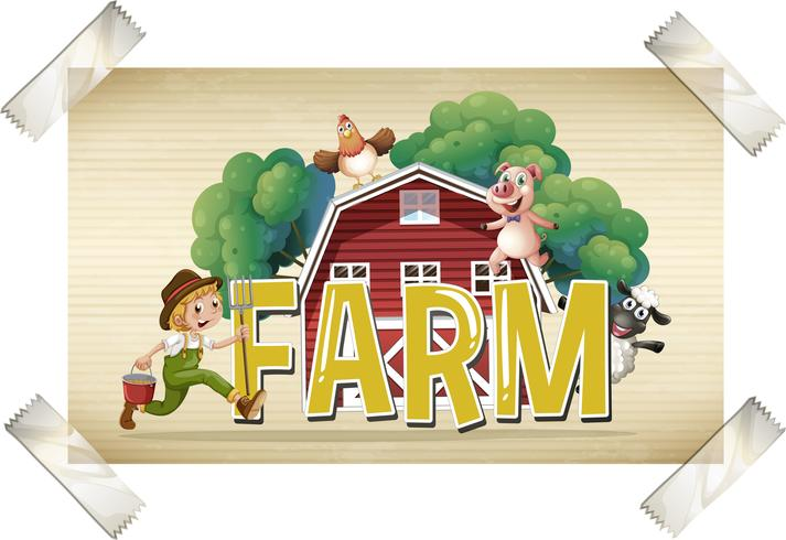 Flashcard per la parola fattoria con contadino e animali vettore