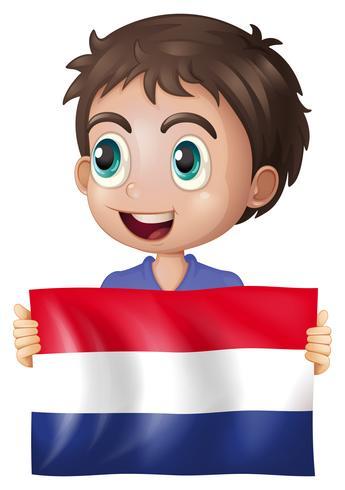 Ragazzo felice con la bandiera dei Paesi Bassi vettore