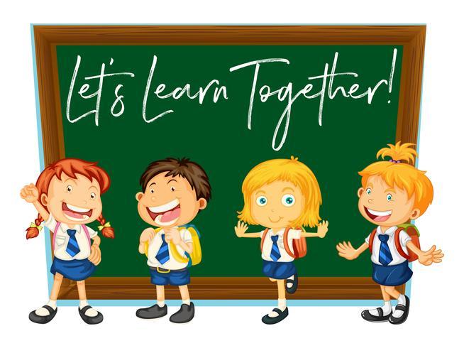 Espressione di parole per impariamo insieme a studenti felici vettore