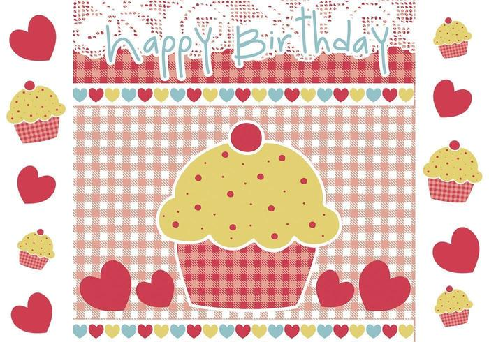 Buon compleanno Cupcake Vector e Wallpaper Pack