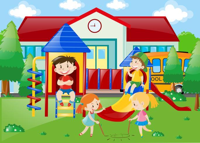 Studenti che giocano al parco giochi nel parco della scuola vettore
